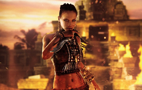 Картинка взгляд, девушка, огонь, кровь, остров, нож, бусы, кинжал, браслет, королева, Ubisoft, Far Cry 3, сестра, …