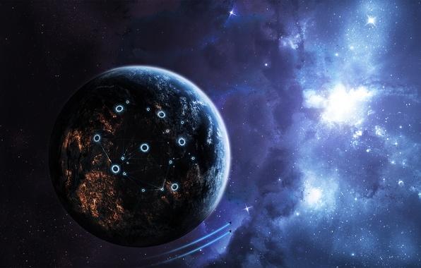 Картинка космос, звезды, свет, планета, корабли, структура, space