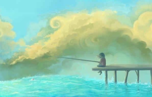 Картинка небо, облака, река, рисунок, причал, девочка, поплавок, удочка