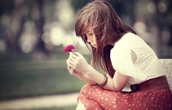 Картинка цветок, девушка, цветы, природа, фон, обои, настроения, юбка, брюнетка, браслет, украшение, wallpapers, аксессуар
