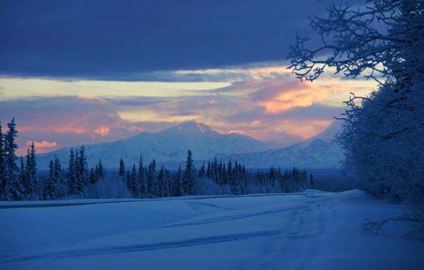 Картинка зима, снег, горы, восход, утро, Аляска