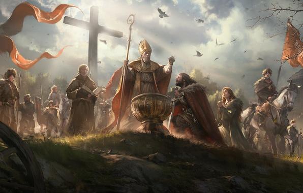 Картинка люди, конь, крест, воины, священник, польша, знамя, крещение