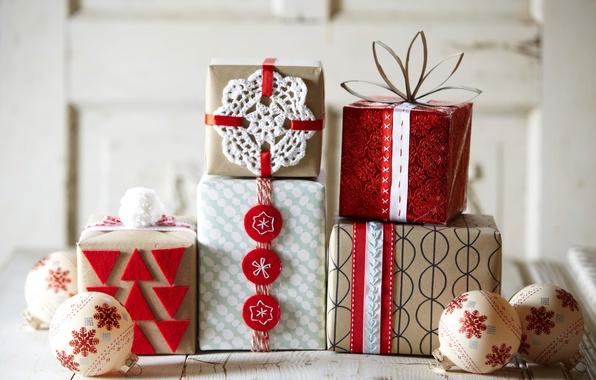 Картинка зима, снег, украшения, праздник, коробка, подарок, шары, Happy New Year, balls, box, winter, snow, Merry …