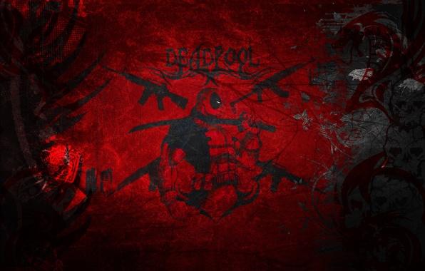Картинка красный, стиль, widescreen, обои, wallpaper, red, style, marvel, Deadpool, комикс, grunge, merc, марвел, дэдпул