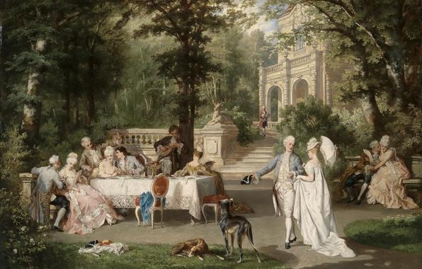 Картинка собаки, деревья, парк, стол, дамы, картина, Австрия, trees, дворец, park, dogs, беседа, Austria, picture, palace, …