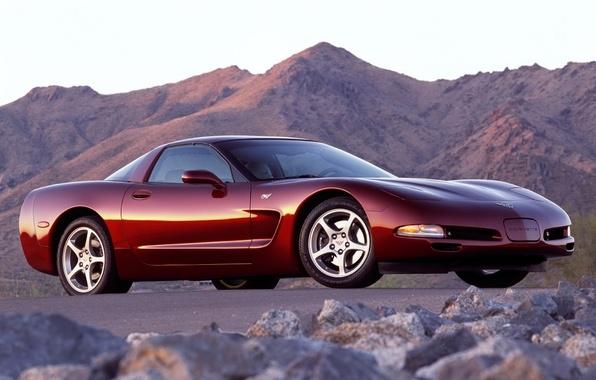 Картинка небо, горы, Corvette, Chevrolet, Шевроле, суперкар, Coupe, передок, Корвет, 50th Anniversary