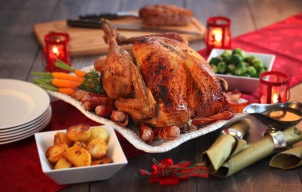 Картинка еда, овощи, блюдо, индейка, корочка, жаренная