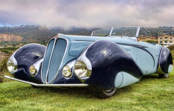 Картинка небо, ретро, фон, Кабриолет, передок, Cabriolet, красивая машина, 1937, by Figoni & Falaschi, 135M, Делай, …