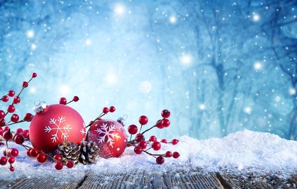 Картинка зима, снег, деревья, снежинки, ветки, природа, блики, праздник, шары, игрушки, ягода, красные, Новый год, шишки, …