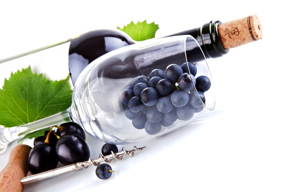 Картинка листья, макро, вино, бокал, бутылка, виноград, пробка, штопор