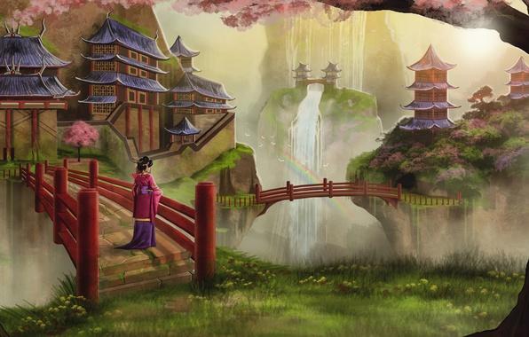 Картинка девушка, деревья, птицы, азия, водопад, радуга, весна, сакура, арт, гейша, кимоно, мосты, цветение, храмы