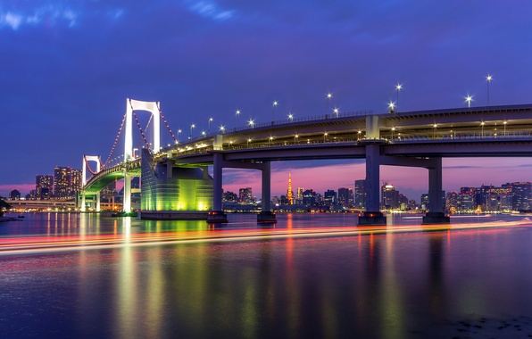 Картинка небо, ночь, мост, огни, здания, дома, выдержка, Япония, освещение, Токио, фонари, залив, Tokyo, Japan, синее, …
