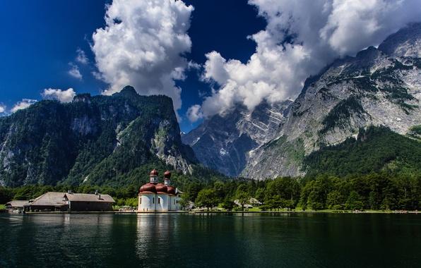 Картинка Германия, Бавария, церковь, Germany, Bavaria, Bavarian Alps, Баварские Альпы, Königssee lake, озеро Кёнигсзе, Watzmann, St …