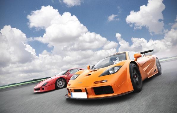 Картинка оранжевый, красный, McLaren, red, ferrari, феррари, gtr, суперкары, orange, гтр, supercars, f40, ф40, МаКларен