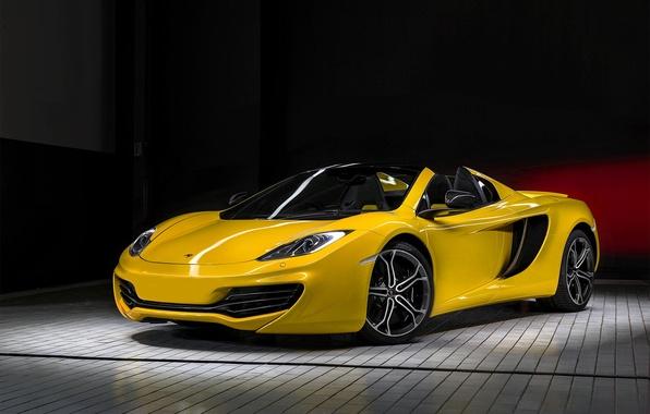 Картинка жёлтый, McLaren, перед, yellow, MP4-12C, front, макларен