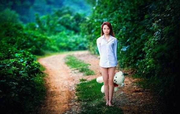 Картинка дорога, девушка, настроение, мишка, азиатка