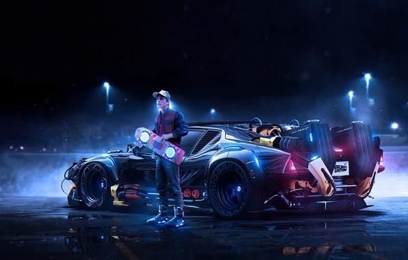 Картинка car, art, назад в будущее, Back to the Future, Marty McFly