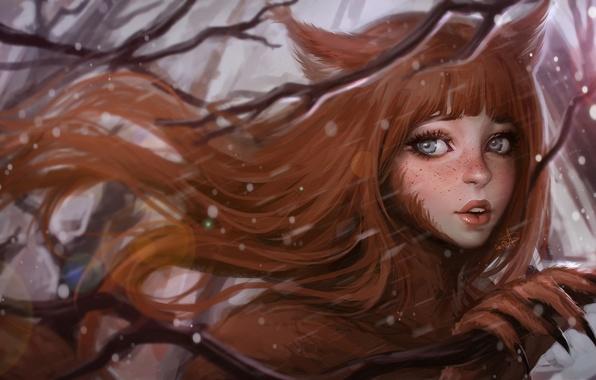 Картинка зима, глаза, взгляд, девушка, лицо, ветер, волосы, лапа, арт, когти, зверь, уши