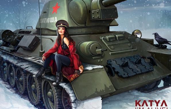 Картинка зима, девушка, снежинки, рисунок, арт, танк, СССР, в красном, ворона, фуражка, пальто, средний, World of …