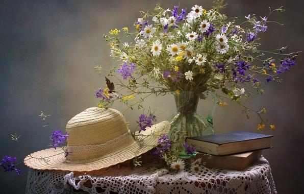 Картинка лето, книги, ромашки, букет, шляпа