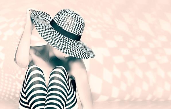 Картинка девушка, полоски, чулки, шляпка, ножки