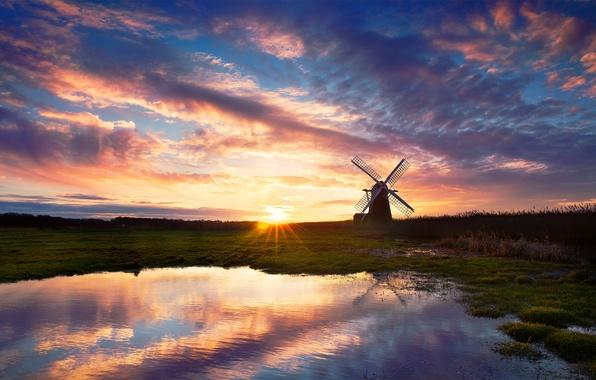 Картинка небо, вода, солнце, отражения, закат, озеро, вечер, мельница