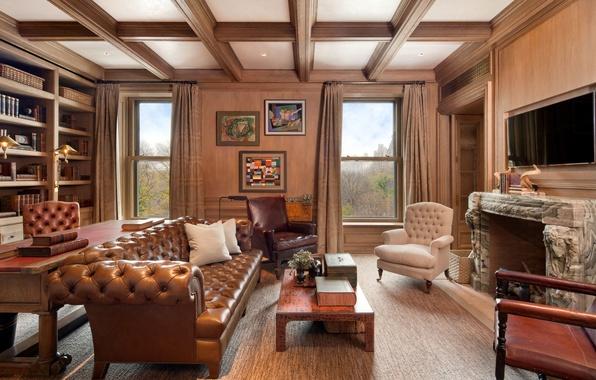 Картинка диван, книги, телевизор, кресла, камин, кабинет, столик, interior, картины., suite