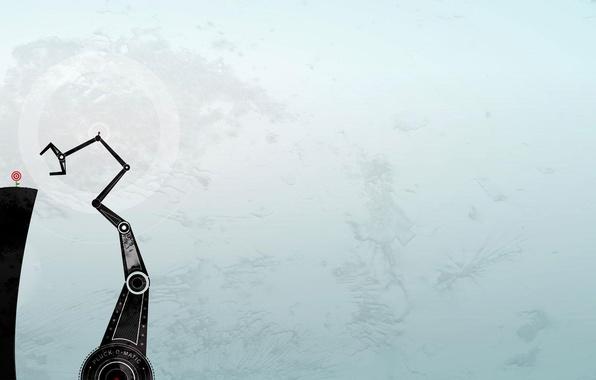 Картинка машина, цветок, фон, голубой, механизм, робот, минимализм