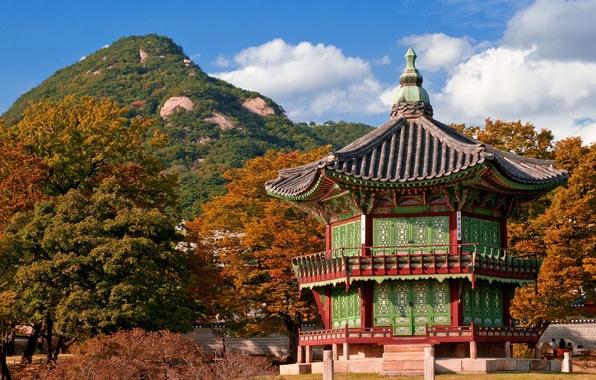 Картинка крыша, осень, небо, пейзаж, природа, дом, холм, архитектура, Южная Корея