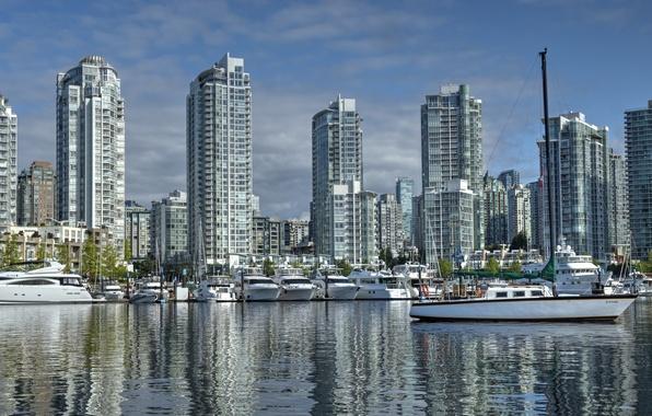Картинка здания, яхты, порт, Канада, Ванкувер, Canada, British Columbia, катера, набережная, Vancouver, Британская Колумбия, Yaletown, False …