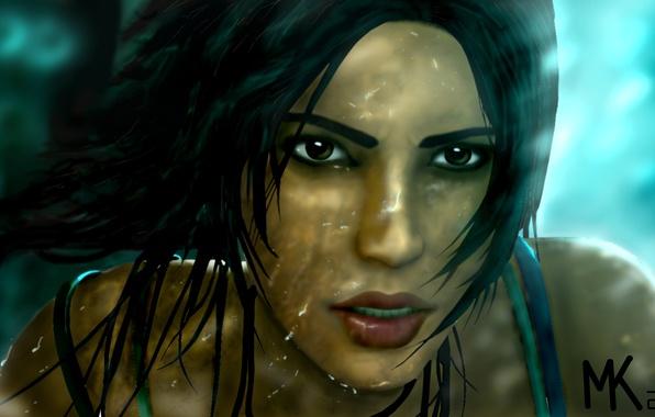 Картинка взгляд, вода, девушка, капли, брызги, лицо, волосы, игра, 2013, Tomb raider, Lara croft