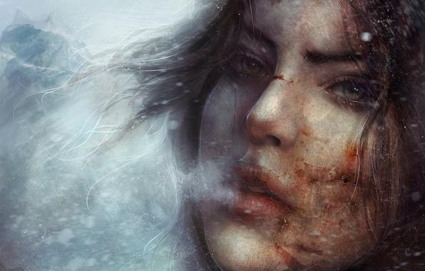 Картинка холод, зима, глаза, взгляд, девушка, снег, лицо, игра, арт, пар, губы, Tomb Raider, аномалия, лара …