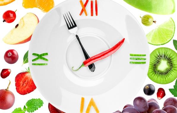 Картинка ягоды, креатив, стрелки, лимон, часы, киви, клубника, тарелка, виноград, белый фон, лайм, перец, фрукты, ананас, …