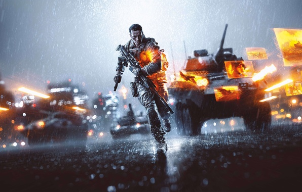Картинка Город, Солдат, Оружие, Танк, Вертолёт, БТР, Electronic Arts, DICE, Battlefield 4