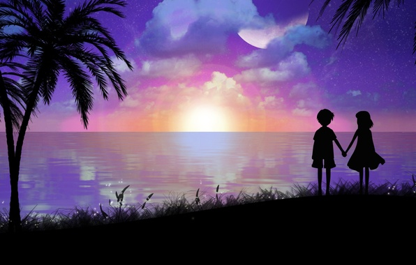Картинка море, пейзаж, пальмы, берег, вечер, мальчик, арт, девочка, силуэты, toyboj