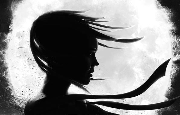 Картинка девушка, ветер, волосы, шар, арт, лента, профиль, черно-белое