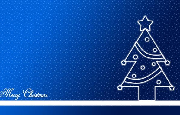 Картинка снег, праздник, звезда, елка, новый год, ель, точки, горошек, star, new year, синий фон, blue, ...