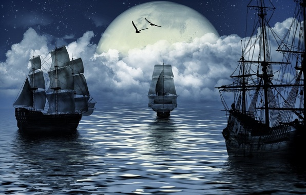 Картинка море, фантазия, луна, корабль, moon, fantasy, sea, ship, sailing, парусный спорт