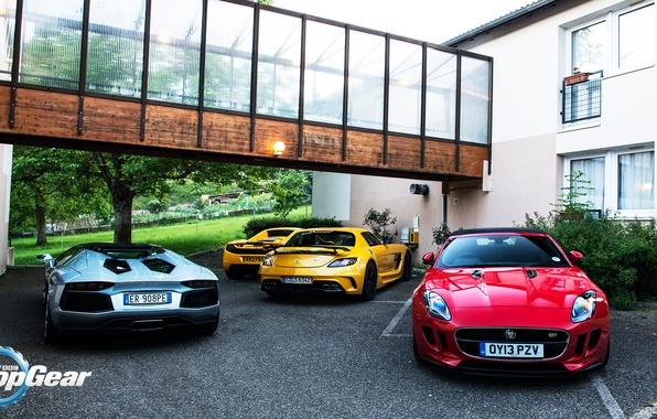 Картинка McLaren, Roadster, Mercedes-Benz, Jaguar, Lamborghini, SLS, MP4-12C, Aventador, Supercars, Black Series, Суперкары, F-Type, Top, Gear, …