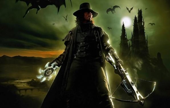 Картинка ночь, оружие, луна, шляпа, актер, мужчина, вампиры, хью джекман, gabriel, ван хельсинг, арбалет, hugh jacman, …