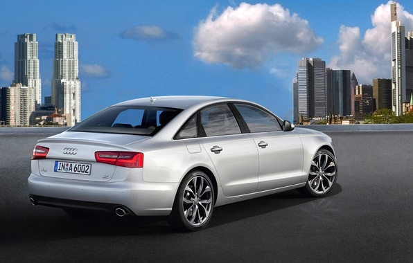 Картинка город, Audi, Авто, Серый, День, Седан