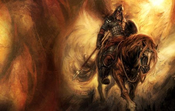 Картинка конь, воин, щит, кольчуга, богатырь, копьё