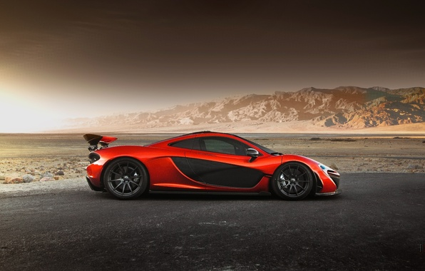 Картинка McLaren, Orange, Hybrid, Side, Death, Sand, Supercar, Valley, Hypercar, Exotic, Volcano