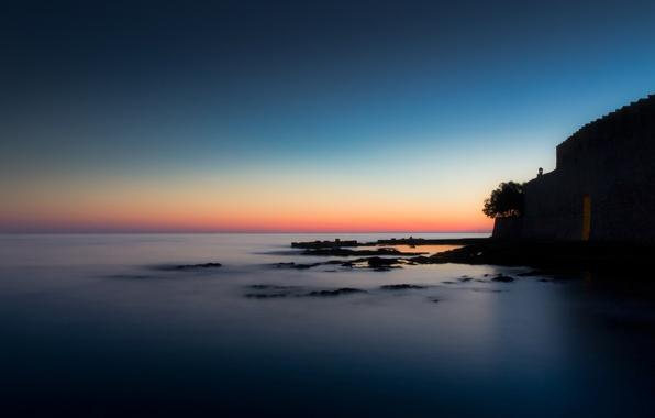 Картинка море, закат, стена, побережье, крепость, Istria, Croatia