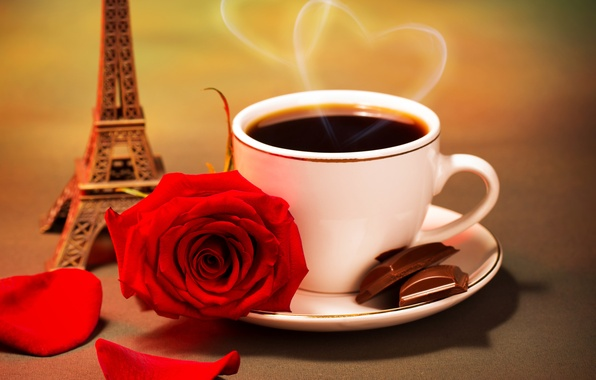 Картинка любовь, цветы, кофе, розы, red rose, valentine's day, eiffel tower
