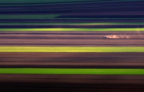 Картинка поля, весна, Италия, трактор, Умбрия