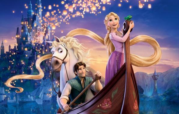 Картинка волны, небо, вода, горы, ночь, огни, хамелеон, река, замок, конь, волосы, корабль, башня, Рапунцель, фонарики, …