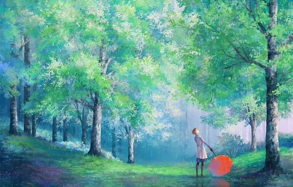 Картинка девушка, деревья, парк, дождь, зонт, арт, пальто