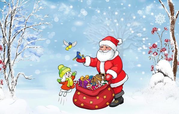 Картинка зима, снег, деревья, радость, снежинки, праздник, игрушки, рисунок, графика, новый год, подарки, птички, детское, мешок, …