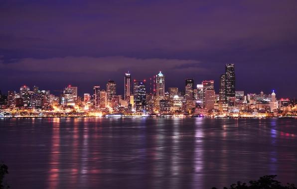 Картинка небо, облака, ночь, city, город, lights, огни, здания, дома, освещение, залив, Вашингтон, Сиэтл, USA, США, …